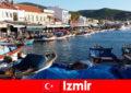 सक्रिय यात्रियों इज़मिर तुर्की में शहर और समुद्र तट के बीच लघुकरण