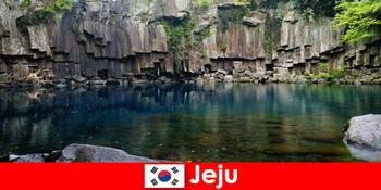 विदेशी लंबी दूरी की यात्राएं जीजू दक्षिण कोरिया के सुंदर ज्वालामुखी परिदृश्य के लिए