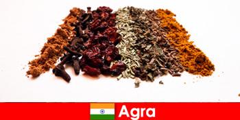 आगरा भारत में मसालों के परिष्कृत व्यंजनों में पर्यटकों के लिए भ्रमण